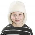 Детская шапка-ушанка (белый меринос)