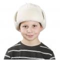 Детская шапка-ушанка (белый кашемир)