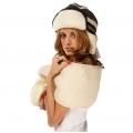 Комплект шапка скандинавка чёрная +шарф белый меринос