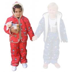 Детская куртка + штанишки (меринос / плащевка детская красная)