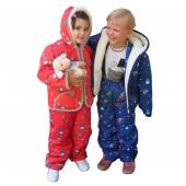 Детская куртка + штанишки (меринос / плащевка детская синяя)