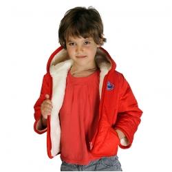 Детская куртка с капюшоном (меринос / плащёвка красная)