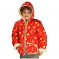 Детская куртка с капюшоном (меринос / плащёвка красная с рис.)