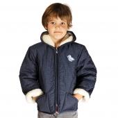 Детская куртка с капюшоном (меринос / плащёвка синяя)