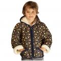 Детская куртка с капюшоном (меринос / плащёвка синяя с рис.)