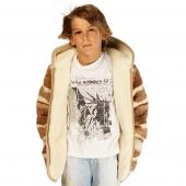Детская куртка с капюшоном (меринос / скандинавка бежевая)