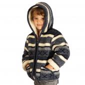 Детская куртка с капюшоном (меринос / скандинавка синяя)