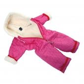 Детский комбинезон (меринос / стеганая плащевка ромб фуксия)