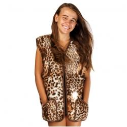 Детский жилет (меринос леопард коричневый)