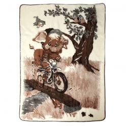 Двухслойное одеяло с рисунком Слоник (белый меринос)