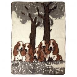 Двухслойное одеяло с рисунком Собачки (белый меринос)