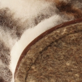 Домашние высокие тапочки (меринос белый / клетка)
