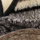 Домашние высокие тапочки (скандинавка чёрная / белый меринос)