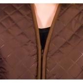 Женский жилет (коричневая плащёвка / белый меринос)