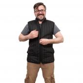 Мужской жилет (чёрная плащёвка / белый меринос)