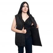 Женский жилет (плащёвка черная в полоску )