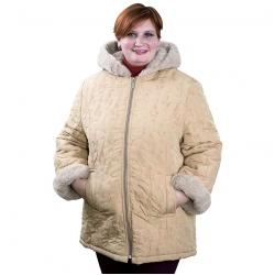 Женская куртка из стеганой плащевки с подкладом из ламы-альпака