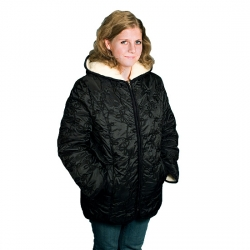 Женская куртка (чёрные калы) Лана с капюшоном