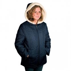 Женская куртка (синяя плащёвка) с капюшоном