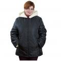 Женская куртка Луиза (чёрная плащёвка) с капюшоном, подкладка белый меринос