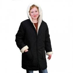 Женская куртка (чёрная плащёвка) с капюшоном