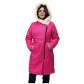 Женская удлиненная куртка-пальто Мария (фуксия) с капюшоном