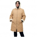 Женская удлиненная куртка-пальто Анна (бежевая) с капюшоном