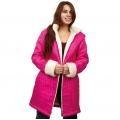 Женская удлиненная куртка-пальто Анна (фуксия) с капюшоном