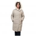 Женская удлиненная куртка-пальто Мария (серо-бежевая) с капюшоном