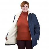 Женская куртка джинсовая с отложным воротником, подкладка белый меринос