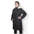 Женская удлиненная куртка-пальто Анна (чёрные калы) с капюшоном