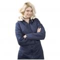 Женская удлиненная куртка-пальто Анна (Синяя) с капюшоном