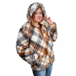 Женская куртка с отстегивающимся капюшоном (меринос клетка)