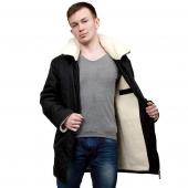 Куртка из стеганой плащевки (чёрная) и подкладки из шерсти белого мериноса, с капюшоном