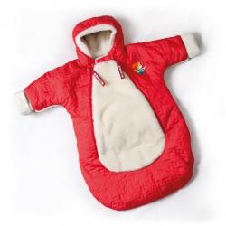 Детский конверт с рукавами (меринос / плащевка красная)