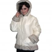 Куртка Автоледи, белая плащевка, капюшон под норку