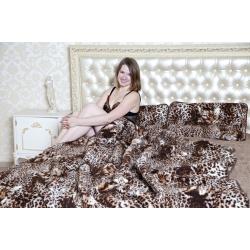 Легкое одеяло (меринос коричневый леопард)